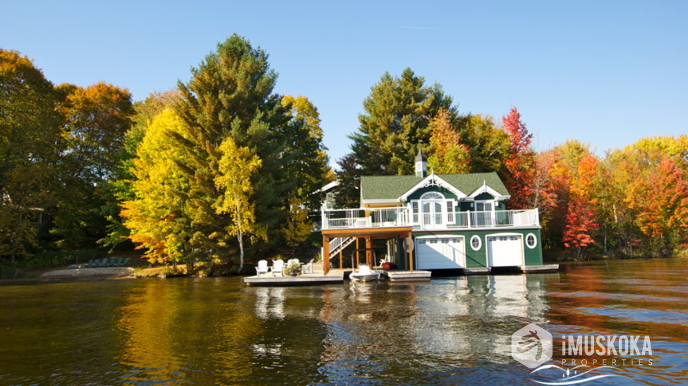 View of boathouse from boat